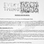 Everything, Everything Filming Notice September 13, 2016 Alexander St in Vancouver