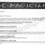 The Magicians Filming Notice September 13, 2016 at Gabriola House on Davie St in Vancouver