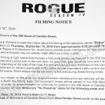 Rogue Filming Notice September 15, 2016 Cambie St in Vancouver