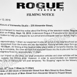 Rogue Filming Notice September 16, 2016 at Ironworks Studio on Alexander St in Vancouver