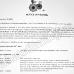The Romeo Section Filming Notice September 23, 2016 at Penthouse Nightclub & Granville Room in Vancouver