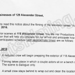 You Me Her Filming Notice October 3, 2016 at 129 Alexander St in Vancouver