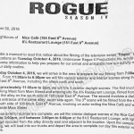 Rogue Filming Notice October 4, 2016 at Nice Cafe and 8 1/2 Restaurant on E 8th Ave in Vancouver