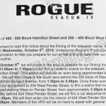 Rogue Filming Notice October 5, 2016 at Hamiton St and W Pender Street in Vancouver
