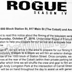 Rogue Filming Notice October 6, 2016 at The Cobalt, Andy Livingston Park & Station St in Vancouver