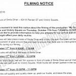 My So Called Wife Filming Notice October 17, 2016 at Smile Diner & Victory Square in Vancouver