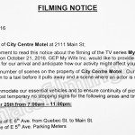 My So Called Wife Filming Notice October 24, 2016 at City Centre Motor Hotel on Main St in Vancouver