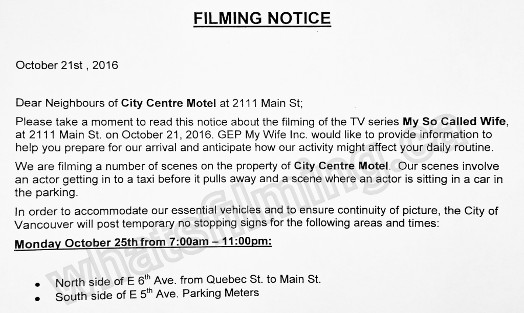 My so called wife filming notice october 24 2016 at city for City center motor hotel vancouver