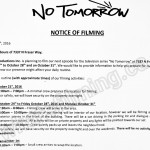 No Tomorrow Filming Notice October 24-31 at 7337 N Fraser Way in Burnaby