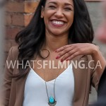 Candice Patton cracks up between takes