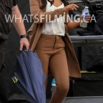 Candice Patton arriving on set of The Flash