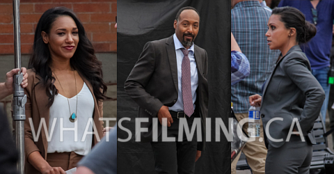 Iris West, Joe West & Cecile Horton Filming The Flash Season 3 Episode 5