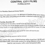 The Flash Filming Notice November 9, 2016 at Victory Square & 400 Block Hamilton St in Vancouver