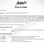 Action #1 Filming Notice November 10, 2016 at Ironworks Studio on Alexander St in Vancouver