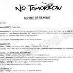 No Tomorrow Filming Notice November 14-15, 2016 at 7337 N Fraser Way in Burnaby