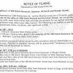Ice Filming Notice November 18, 2016 at Richards & Dunsmuir St alley in Vancouver
