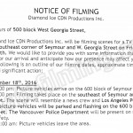 Ice Filming Notice November 18, 2016 at 500 Blk W Georgia St in Vancouver