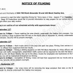 Once Upon A Time Filming Notice September 12, 2017 at 600-700 Alexander Street in Vancouver