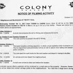 Colony Filming Notice for October 11th at 7185 W 11th Ave in Burnaby