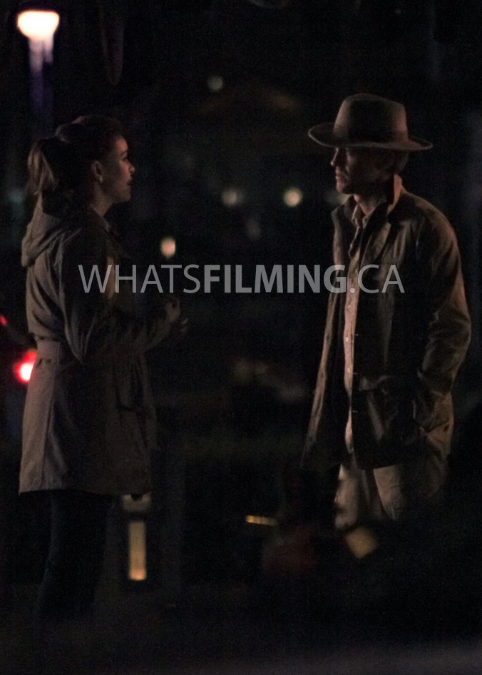 Caitlin Snow (Danielle Panabaker) and Julian Albert (Tom Felton) filming a dialogue scene for The Flash season 3 episode 13 in Vancouver