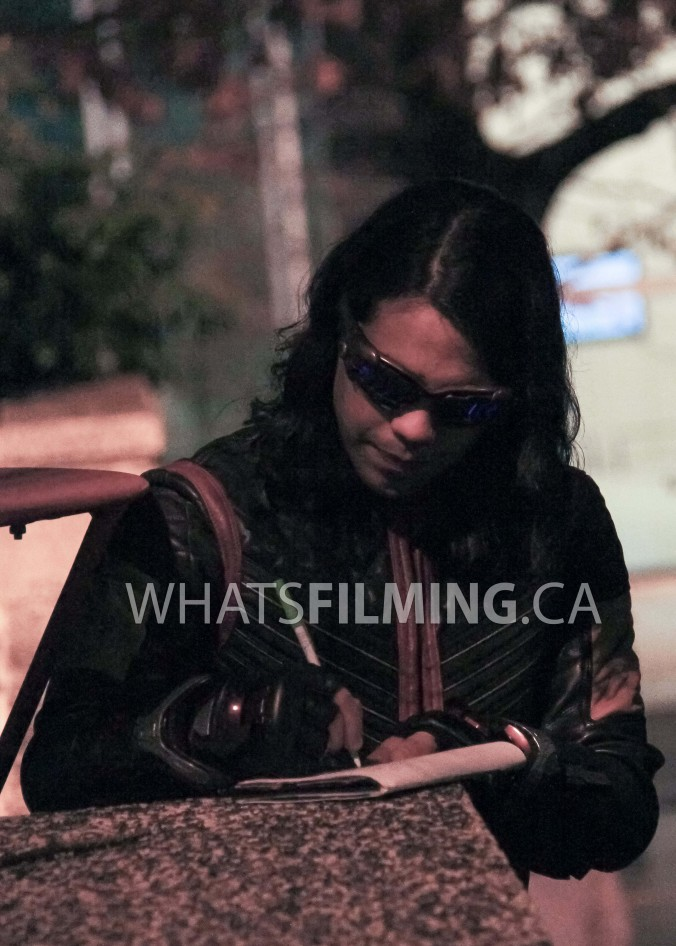 Carlos Valdes signing autographs in the Vibe suit while on set of The Flash season 3 episode 13 in Vancouver