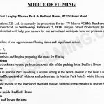 Garage Sale Mystery Filming Notice for February 7, 2018 at Fort Langley Marina Park & Bedford House on Glover Road
